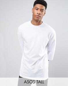 Белая oversize‑футболка с рукавами 3/4 ASOS TALL - Белый