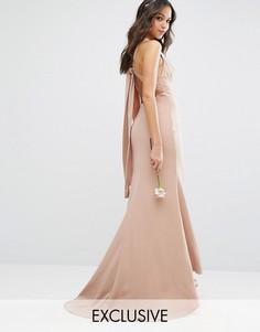 Платье макси с высокой горловиной и открытой спиной Jarlo - Бежевый