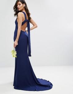 Платье макси с высокой горловиной и открытой спиной Jarlo - Темно-синий