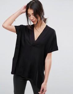 Блузка в стиле кимоно с глубоким V-образным вырезом Selected Furell - Черный