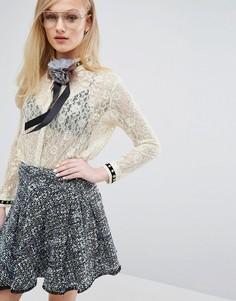 Кружевная рубашка с отделкой металлик Sister Jane - Кремовый