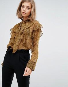 Шифоновая блузка с оборками и леопардовым принтом Sister Jane - Коричневый