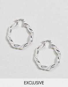 Посеребренные витые серьги-кольца Reclaimed Vintage - Серебряный