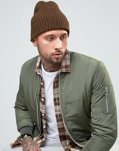 Зеленая шапка-бини с узором New Look - Зеленый