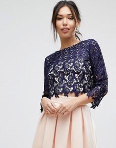 Укороченная кружевная блузка Little Mistress - Темно-синий
