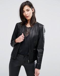 Кожаная куртка без воротника Selected Tanne - Черный