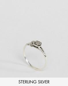 Серебряное кольцо с розой Reclaimed Vintage - Серебряный