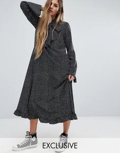 Платье макси в горошек с расклешенными рукавами Reclaimed Vintage - Черный