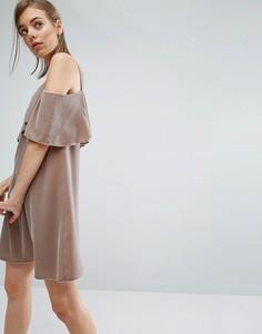 Двухслойное бархатное платье мини с открытыми плечами ASOS - Коричневый