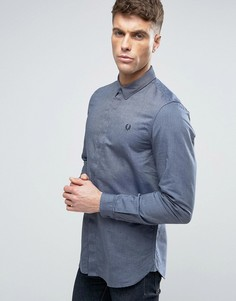 Темно-синяя узкая рубашка со скрытой планкой Fred Perry - Темно-синий