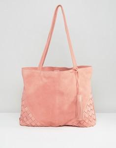 Замшевая сумка‑шоппер с плетеными уголками ASOS - Розовый
