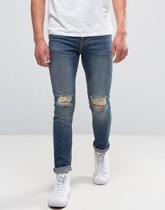 Синие выбеленные джинсы скинни с прорехами New Look - Синий