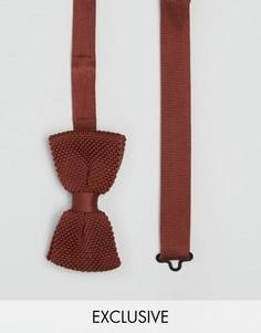 Трикотажный узкий галстук-бабочка Heart & Dagger - Коричневый