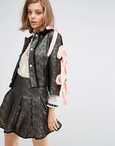 Комбинируемая укороченная куртка с атласными бантами на рукавах Sister Jane - Золотой