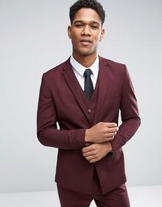 Меланжевый пиджак зауженного кроя с прямой кромкой Only & Sons - Красный