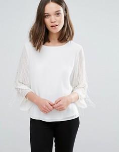 Декорированная блузка Only Risa - Кремовый