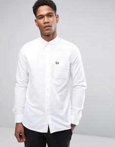 Белая узкая оксфордская рубашка на пуговицах Fred Perry - Белый