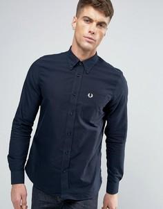Темно-синяя узкая оксфордская рубашка на пуговицах Fred Perry - Темно-синий