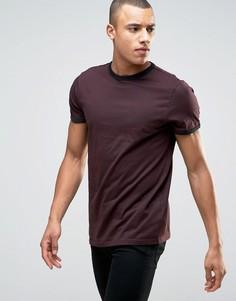 Бордовая футболка New Look Ringer - Красный