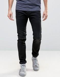 Черные потертые зауженные джинсы Diesel Tepphar 679f - Черный