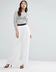 Комбинезон с кружевными рукавами и широкими штанинами Rare - Белый