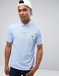 Синяя узкая футболка-поло из пике с воротником на пуговицах Fred Perry - Синий
