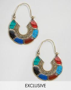 Серьги-кольца ручной работы с разноцветной отделкой Reclaimed Vintage - Мульти