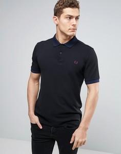 Черная узкая футболка-поло из пике с клетчатым воротником Fred Perry - Черный