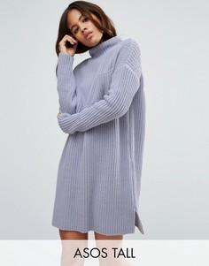 Свободное вязаное платье в рубчик с карманом ASOS TALL - Белый
