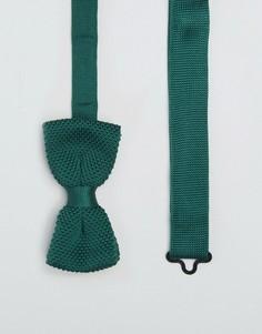 Трикотажный узкий галстук-бабочка Heart & Dagger - Зеленый
