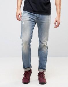 Выбеленные узкие джинсы Diesel Buster 0845F - Синий