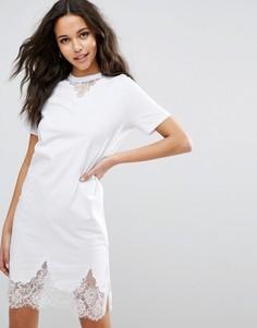Платье-футболка с кружевными вставками ASOS - Белый