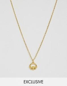 Ожерелье с подвеской в виде кладдахского кольца Reclaimed Vintage - Золотой