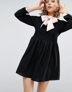 Платье с атласным бантом-завязкой Sister Jane - Черный