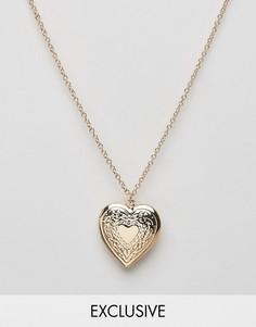 Ожерелье с подвеской-медальоном в форме сердца Reclaimed Vintage - Золотой
