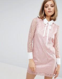 Кружевное платье с отделкой на воротнике Sister Jane - Розовый