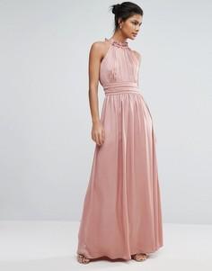 Атласное платье макси с высокой горловиной Little Mistress - Розовый