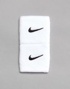 Комплект из 2 белых тренировочных напульсников с галочкой Nike - Белый
