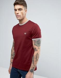 Красная футболка с контрастной отделкой Fred Perry - Красный