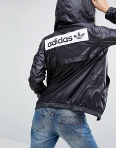 Куртка с капюшоном и монохромным логотипом-трилистником на спине adidas Originals - Черный