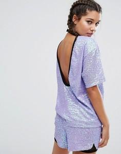 Oversize-футболка из комплекта с пайетками, воротником и глубоким вырезом сзади Jaded London - Фиолетовый