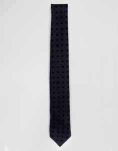Узкий галстук с флоковым узором в горошек Noak - Темно-синий