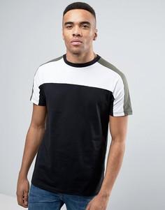 Черная футболка с блочным принтом New Look - Черный
