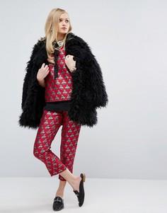 Комбинируемые жаккардовые брюки-сигареты с принтом пчел Sister Jane - Красный