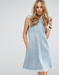 Джинсовое платье с необработанными краями Replay - Синий