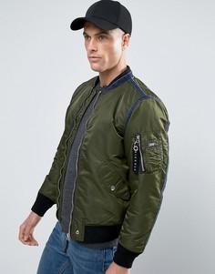 Дутая куртка-пилот с отделкой из денима Diesel J-HOWLER - Зеленый