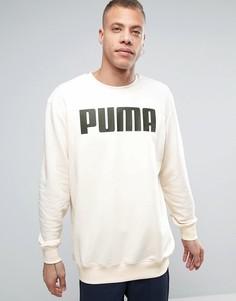 Кремовый удлиненный свободный свитшот Puma - Белый