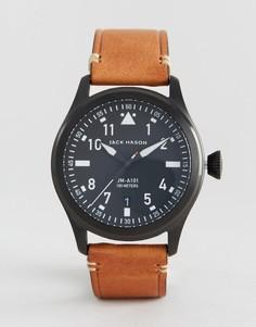 Часы с кожаным светло-коричневым ремешком Jack Mason Aviation 42 мм - Рыжий