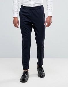 Укороченные зауженные брюки в клетку с эластичной талией Selected Homme - Темно-синий