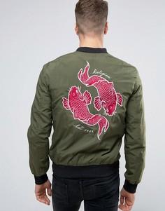 Сувенирная куртка-пилот с вышивкой карпов сзади Religion - Зеленый
